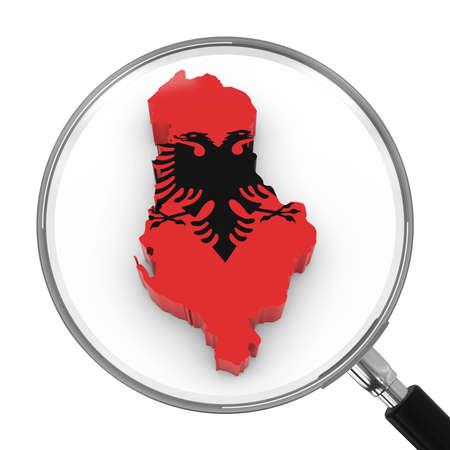 zoomed: Albania under Magnifying Glass - Albanian Flag Map Outline - 3D Illustration Stock Photo