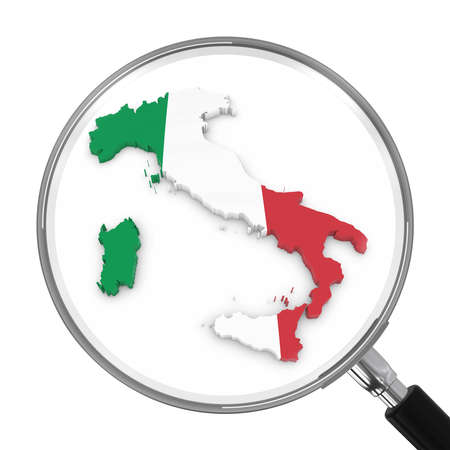 zoomed: Italy under Magnifying Glass - Italian Flag Map Outline - 3D Illustration Stock Photo