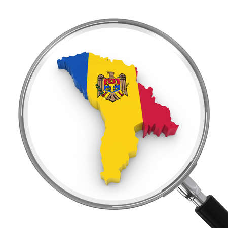moldovan: Moldova under Magnifying Glass - Moldovan Flag Map Outline - 3D Illustration Stock Photo
