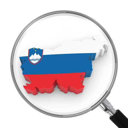 Slovenia under Magnifying Glass - Slovenian Flag Map Outline - 3D Illustration Stock Photo