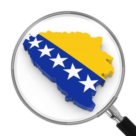 zoomed: Bosnia Herzegovina under Magnifying Glass - Bosnian Herzegovinan Flag Map Outline - 3D Illustration