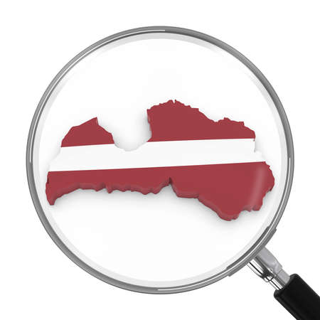 zoomed: Latvia under Magnifying Glass - Latvian Flag Map Outline - 3D Illustration Stock Photo