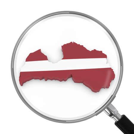 zoomed: Latvia under Magnifying Glass - Latvian Flag Map Outline - 3D Illustration Stock Photo