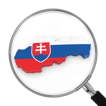 slovakian: Slovakia under Magnifying Glass - Slovakian Flag Map Outline - 3D Illustration