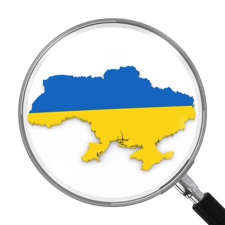 ukrainian flag: Ukraine under Magnifying Glass - Ukrainian Flag Map Outline - 3D Illustration
