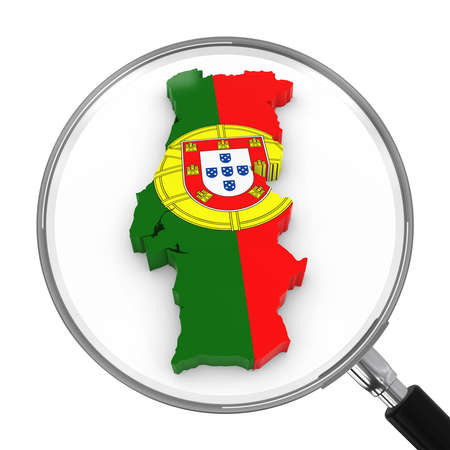 zoomed: Portugal under Magnifying Glass - Portuguese Flag Map Outline - 3D Illustration Stock Photo