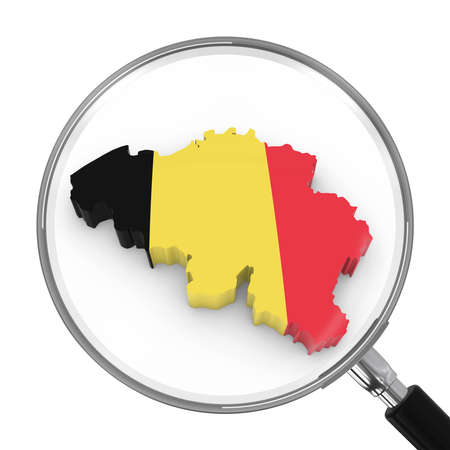 zoomed: Belgium under Magnifying Glass - Belgian Flag Map Outline - 3D Illustration Stock Photo