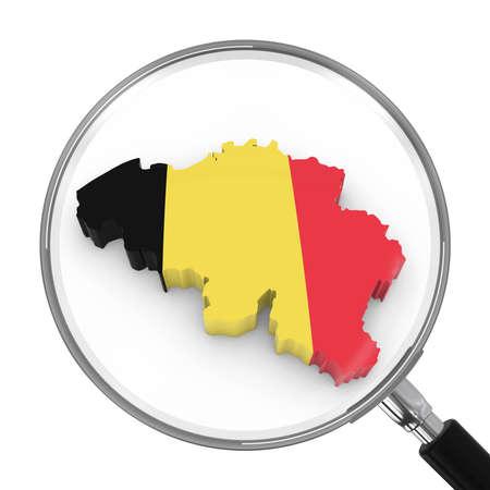 zoomed: Belgium under Magnifying Glass - Belgian Flag Map Outline - 3D Illustration Stock Photo