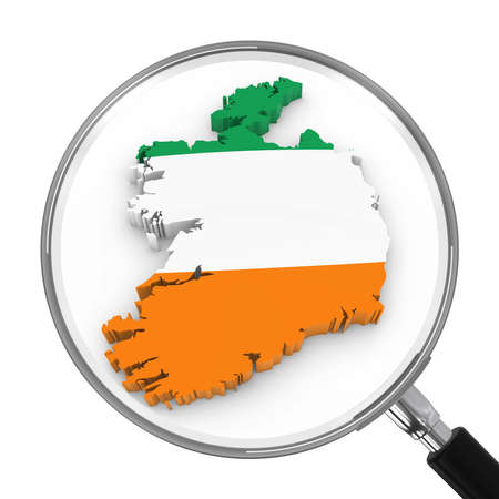 zoomed: Ireland under Magnifying Glass - Irish Flag Map Outline - 3D Illustration Stock Photo