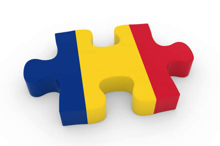 romanian: Romanian Flag Puzzle Piece - Flag of Romania Jigsaw Piece 3D Illustration
