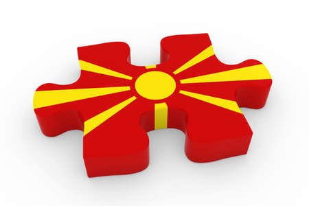 macedonian flag: Macedonian Flag Puzzle Piece - Flag of Macedonia Jigsaw Piece 3D Illustration Stock Photo