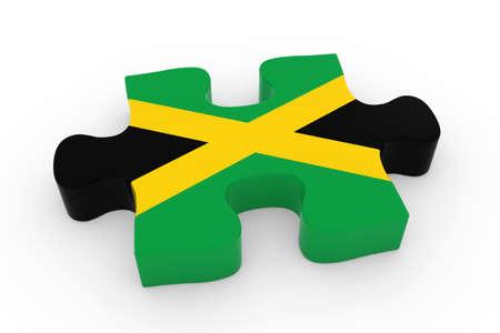jamaican flag: Jamaican Flag Puzzle Piece - Flag of Jamaica Jigsaw Piece 3D Illustration