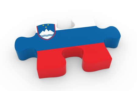 slovenian: Slovenian Flag Puzzle Piece - Flag of Slovenia Jigsaw Piece 3D Illustration Stock Photo