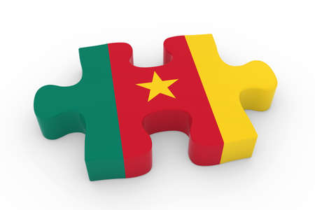 cameroonian: Cameroonian Flag Puzzle Piece - Flag of Cameroon Jigsaw Piece 3D Illustration