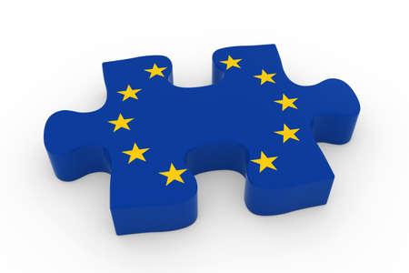 eu flag: EU Flag Puzzle Piece - Flag of Europe Jigsaw Piece 3D Illustration
