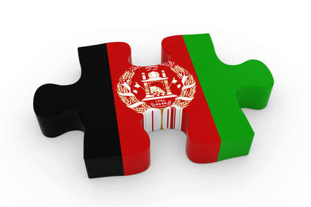 afghan: Afghan Flag Puzzle Piece - Flag of Afghanistan Jigsaw Piece 3D Illustration