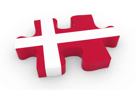 danish flag: Danish Flag Puzzle Piece - Flag of Denmark Jigsaw Piece 3D Illustration