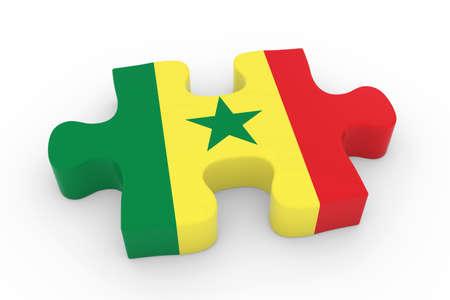 senegalese: Senegalese Flag Puzzle Piece - Flag of Senegal Jigsaw Piece 3D Illustration