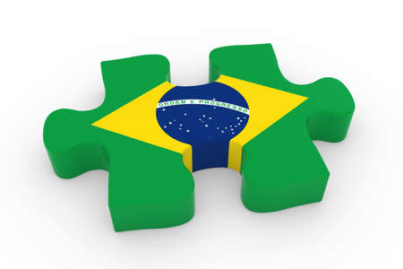 brazilian flag: Brazilian Flag Puzzle Piece - Flag of Brazil Jigsaw Piece 3D Illustration