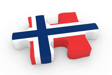 norwegian flag: Norwegian Flag Puzzle Piece - Flag of Norway Jigsaw Piece 3D Illustration