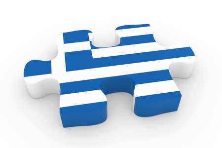 greek flag: Greek Flag Puzzle Piece - Flag of Greece Jigsaw Piece 3D Illustration Stock Photo