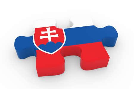 slovakian: Slovakian Flag Puzzle Piece - Flag of Slovakia Jigsaw Piece 3D Illustration Stock Photo