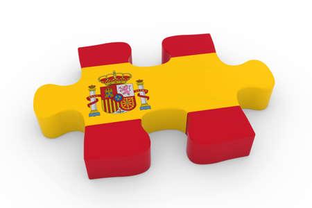 spanish flag: Spanish Flag Puzzle Piece - Flag of Spain Jigsaw Piece 3D Illustration