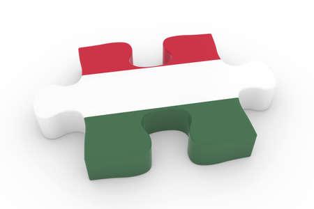 hungarian: Hungarian Flag Puzzle Piece - Flag of Hungary Jigsaw Piece 3D Illustration Stock Photo