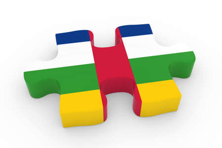 central african republic: Central African Flag Puzzle Piece - Flag of the Central African Republic Jigsaw Piece 3D Illustration
