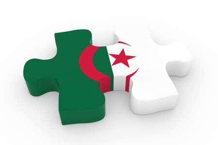 algerian flag: Algerian Flag Puzzle Piece - Flag of Algeria Jigsaw Piece 3D Illustration