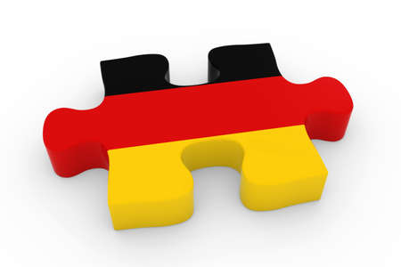 german flag: German Flag Puzzle Piece - Flag of Germany Jigsaw Piece 3D Illustration