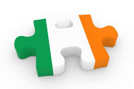 irish flag: Irish Flag Puzzle Piece - Flag of Ireland Jigsaw Piece 3D Illustration