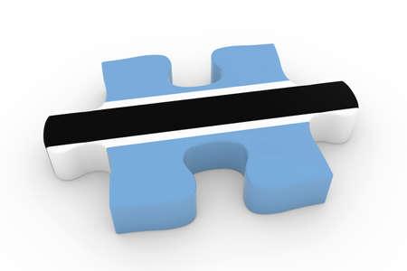 botswanan: Botswanan Flag Puzzle Piece - Flag of Botswana Jigsaw Piece 3D Illustration