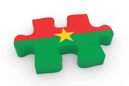 jigsaw piece: Burkinabe Flag Puzzle Piece - Flag of Burkina Faso Jigsaw Piece 3D Illustration Stock Photo