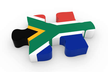 south african: South African Flag Puzzle Piece - Flag of South Africa Jigsaw Piece 3D Illustration