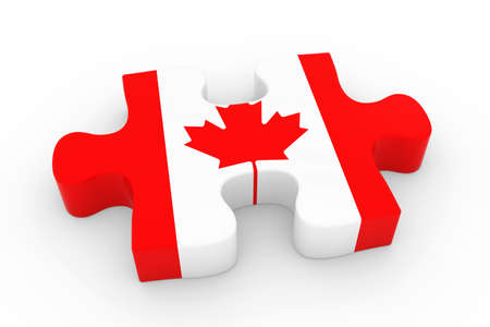 canadian flag: Canadian Flag Puzzle Piece - Flag of Canada Jigsaw Piece 3D Illustration Stock Photo