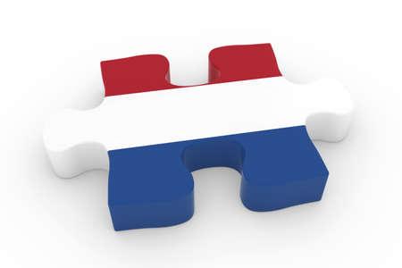 jigsaw piece: Dutch Flag Puzzle Piece - Flag of the Netherlands Jigsaw Piece 3D Illustration