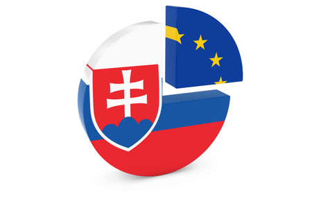 slovakian: Slovakian and European Flags Pie Chart 3D Illustration
