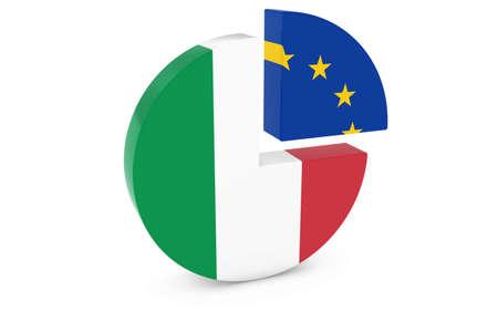 european flags: Italian and European Flags Pie Chart 3D Illustration