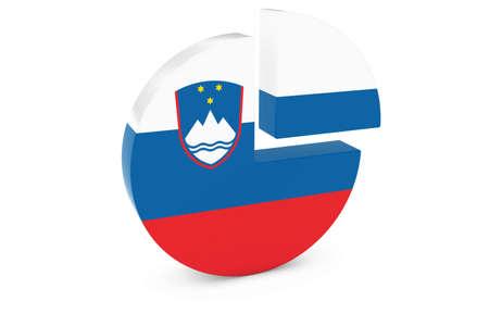 slovenian: Slovenian Flag Pie Chart - Flag of Slovenia Quarter Graph 3D Illustration
