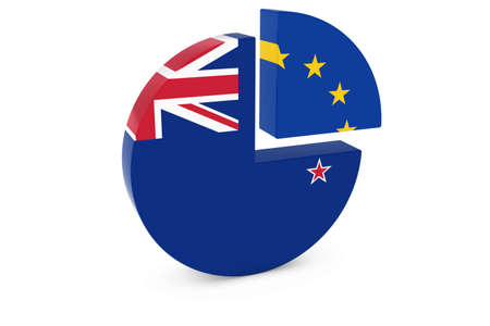 european flags: New Zealand and European Flags Pie Chart 3D Illustration