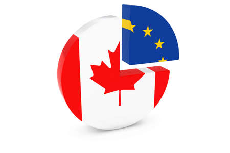 european flags: Canadian and European Flags Pie Chart 3D Illustration