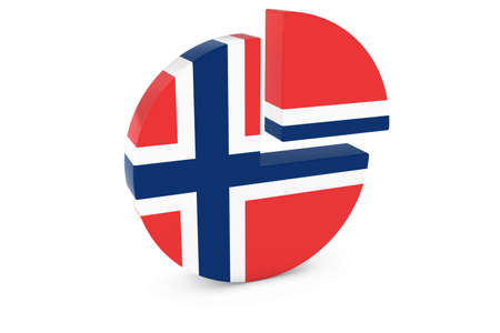 norwegian flag: Norwegian Flag Pie Chart - Flag of Norway Quarter Graph 3D Illustration Stock Photo