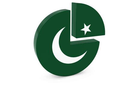 pakistani pakistan: Pakistani Flag Pie Chart - Flag of Pakistan Quarter Graph 3D Illustration Stock Photo