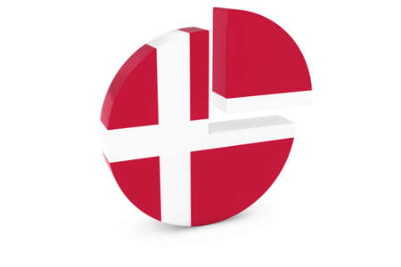 danish flag: Danish Flag Pie Chart - Flag of Denmark Quarter Graph 3D Illustration Stock Photo