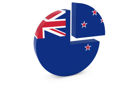 new zealand flag: New Zealand Flag Pie Chart - Flag of New Zealand Quarter Graph 3D Illustration Stock Photo