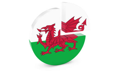 welsh flag: Welsh Flag Pie Chart - Flag of Wales Quarter Graph 3D Illustration
