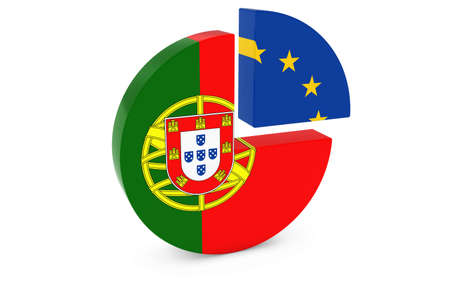 european flags: Portuguese and European Flags Pie Chart 3D Illustration
