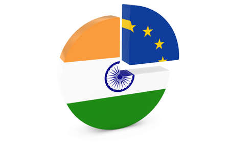 european flags: Indian and European Flags Pie Chart 3D Illustration