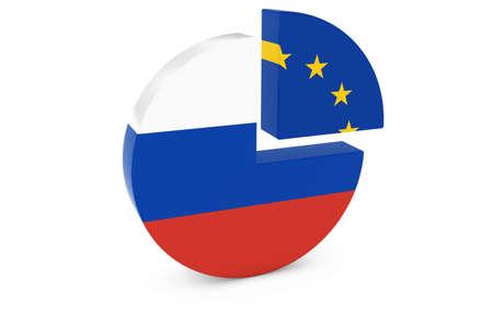 european flags: Russian and European Flags Pie Chart 3D Illustration